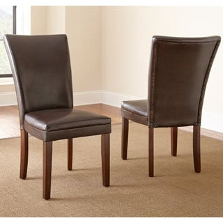 Hampton Brown Bonded Leather Dining Chair with Memory Foam Seat (Set of 2)  by Greyson Living