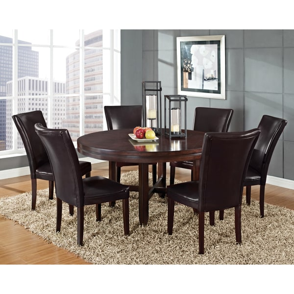 Shop Saddle Brown Round Kitchen Table And 4 Kitchen Chairs: Shop Greyson Living Hampton Dark Brown Cherry And Bonded