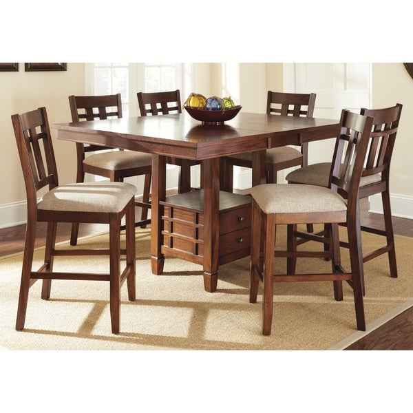 Greyson Living Blake Medium Oak Dining Set with Self-storing Leaf