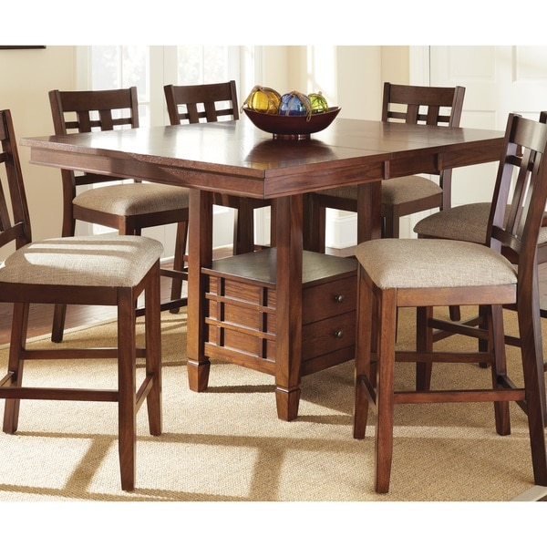 Blake Medium Oak Counter Height Dining Table With Self Storing Erfly Leaf By Greyson Living