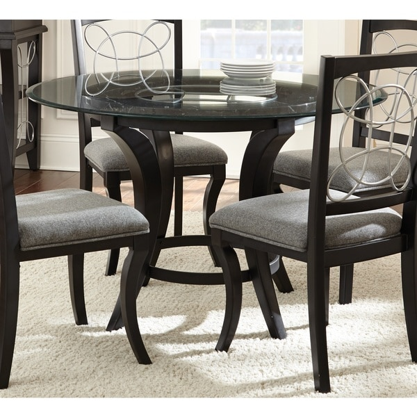 Greyson living calypso glass top and black dining table for Dining room tables home goods