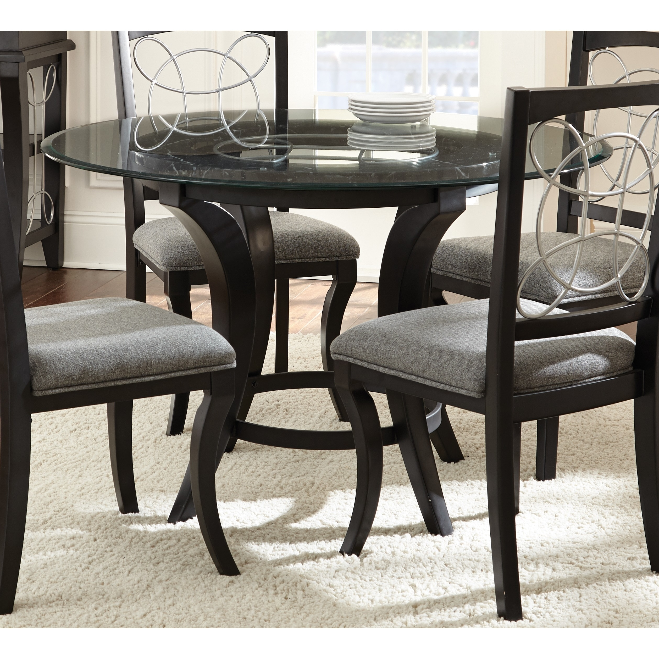 Calypso Glass-top and Black Dining Table by Greyson Livin...