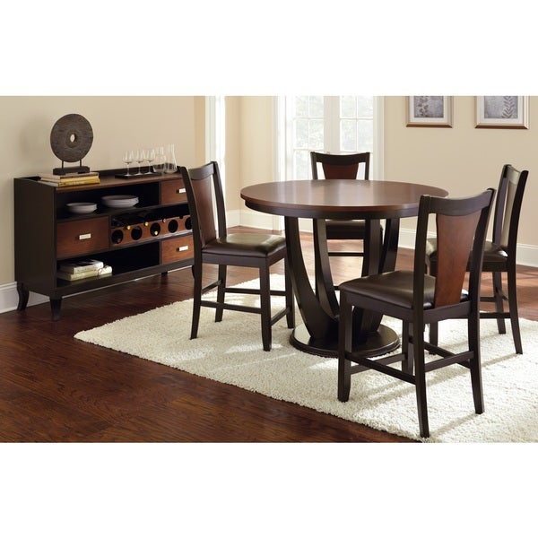 Greyson Living Olivia Two-tone Cherry and Black Counter-height Dining Set