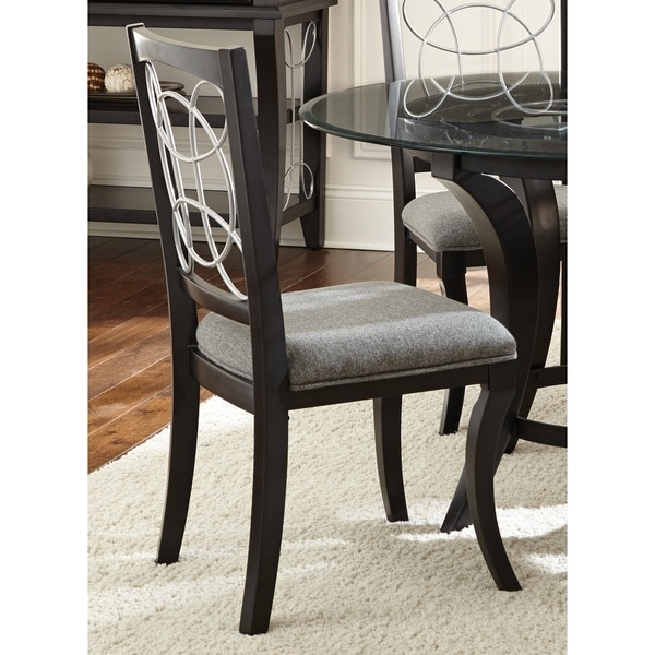 Calypso Black/Charcoal Grey Upholstered Dining Chairs By (Set Of 2) By  Greyson