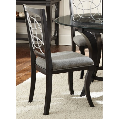 Greyson Living Calypso Black/ Charcoal Grey Upholstered Dining Chairs (Set of 2)