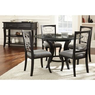 glass dining room table set. Calypso Glass Top Black Dining Set by Greyson Living Room Sets For Less  Overstock com