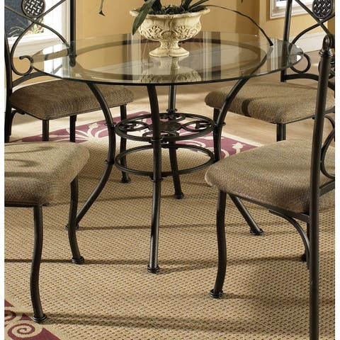 Copper Grove Abernethy Glass-top and Brown Powder-coated Metal Dining Table
