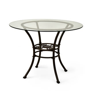 Browning Glass-top and Brown Powder-coated Metal Dining Table  by Greyson Living
