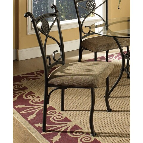 Greyson Living Browning Dark Brown Metal and Beige Dining Chair (Set of 4) - 40 inches high x 21 inches wide x 23 inches deep