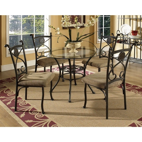 Greyson living browning glass table top 5 piece dining set for Greyson dining table