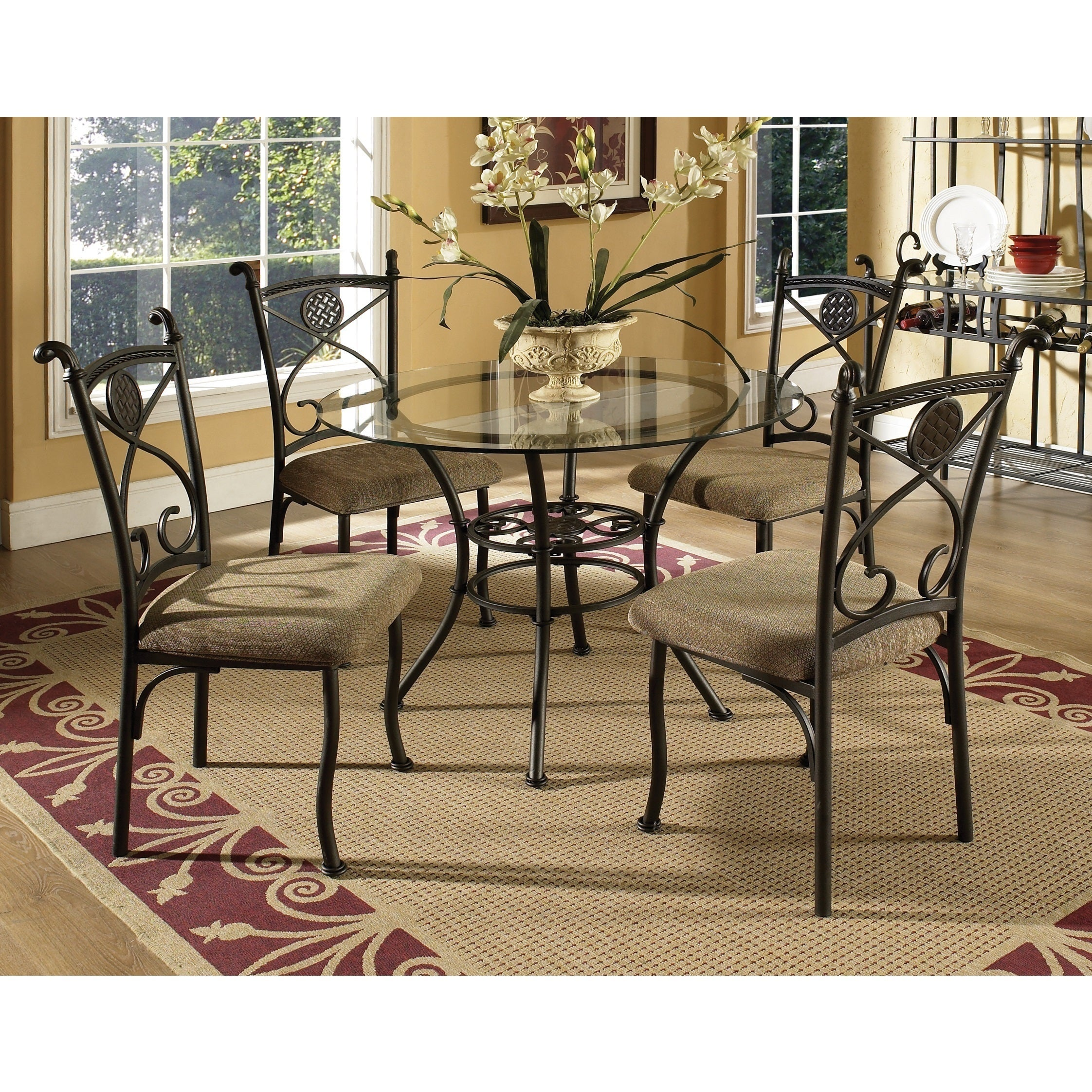 Browning Glass Table Top 5-piece Dining Set by Greyson Li...