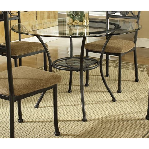 Copper Grove Abernethy Gunmetal 45-inch Round Glass-top Dining Table