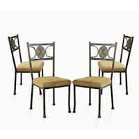 Copper Grove Abernethy Gunmetal and Beige-upholstered Dining Chairs (Set of 4)