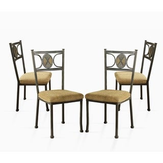 Greyson Living Celine Gunmetal and Beige-upholstered Dining Chairs (Set of 4) - 39 inches high x 19 inches wide x 21 inches deep