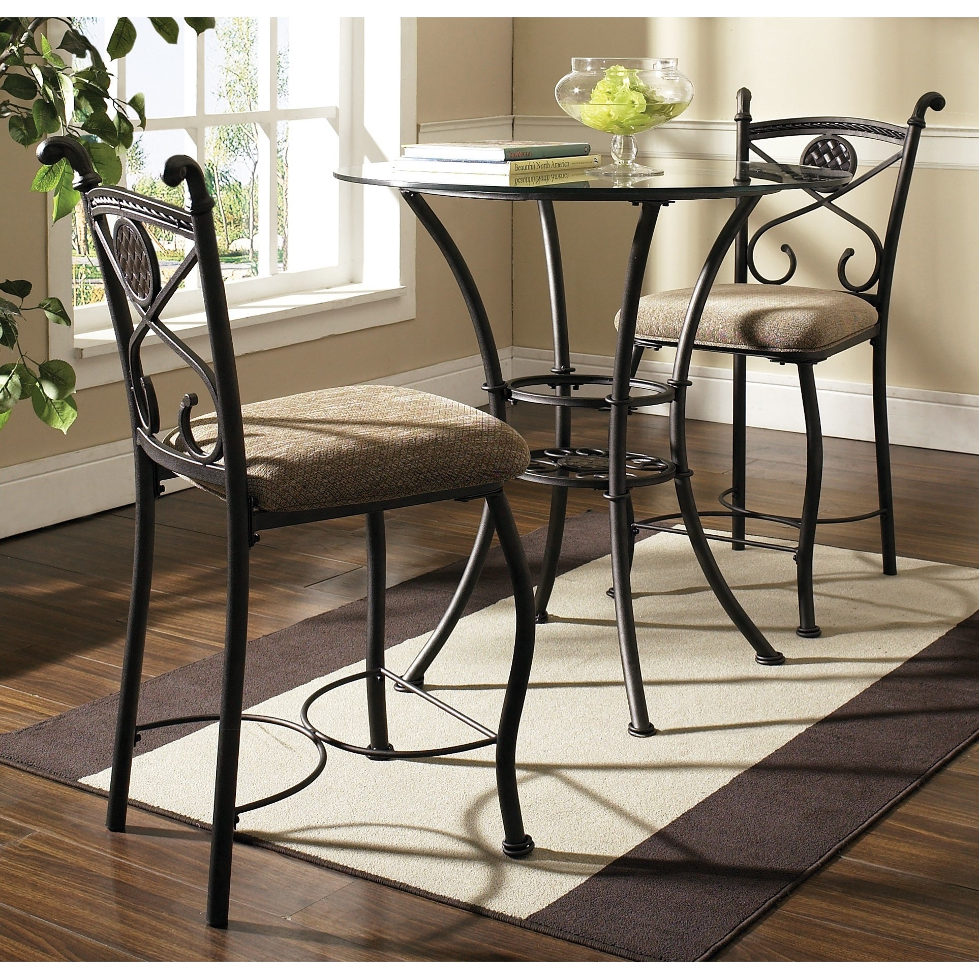 Browning Dark Brown and Beige-upholstered Pub Table Set b...