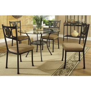 Celine Gunmetal and Beige-upholstered 5-piece Dining Set  by Greyson Living