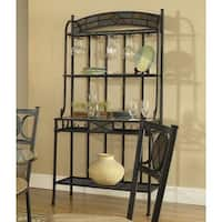 Greyson Living Celine Gunmetal and Tempered Glass Bakers Rack