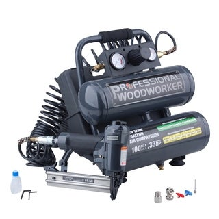 Professional Woodworker Brad Nailer Twin Stack Compressor Combo Kit