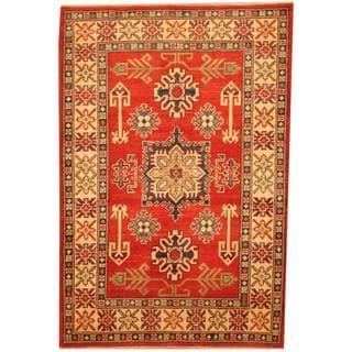 Herat Oriental Afghan Hand-knotted Kazak Red/ Beige Wool Rug (3'4 x 4'11)