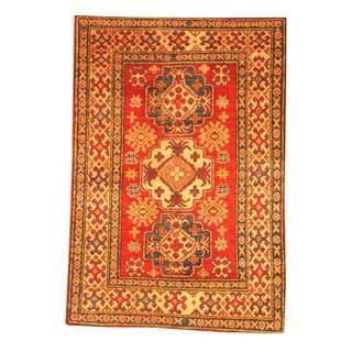 Herat Oriental Afghan Hand-knotted Tribal Kazak Red/ Beige Wool Rug (3'3 x 4'9)