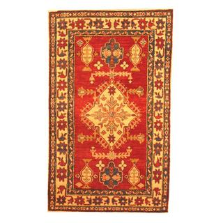Herat Oriental Afghan Hand-knotted Tribal Kazak Red/ Beige Wool Rug (3' x 4'11)