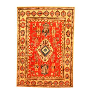 Herat Oriental Afghan Hand-knotted Tribal Kazak Red/ Beige Wool Rug (4' x 5'8)