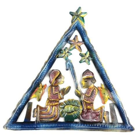Hand Painted Triangle Nativity Wall Art (Haiti)