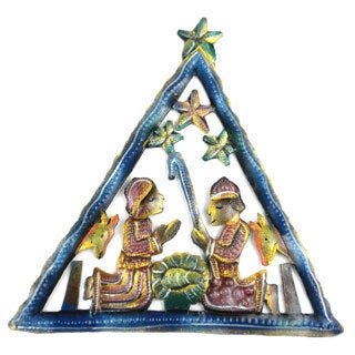 Hand Painted Triangle Nativity Wall Art (Haiti)