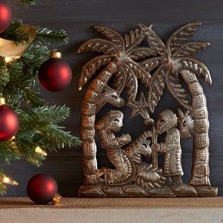 Handmade Palm Tree Nativity Wall Art (Haiti)