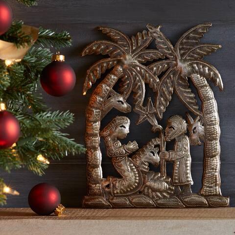 Handmade Palm Tree Nativity Art (Haiti)