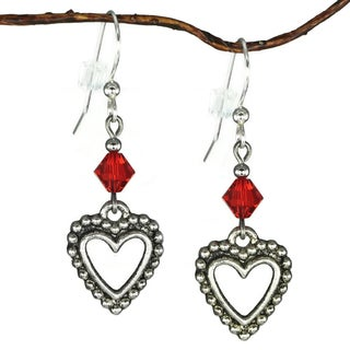 Jewelry by Dawn Pewter Open Heart Red Crystal Dangle Earrings