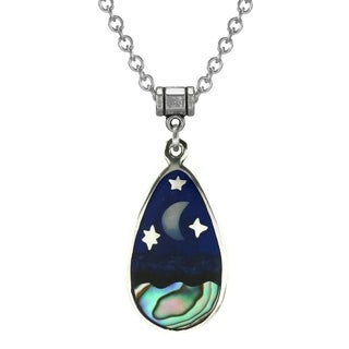 Jewelry by Dawn Stainless Steel Unisex Abalone Moon and Stars Pendant Necklace - Blue
