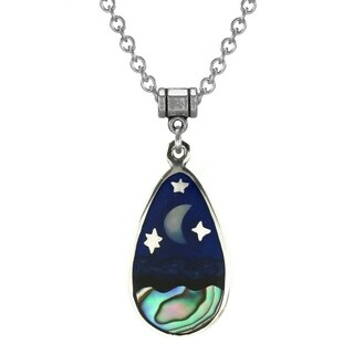Handmade Jewelry by Dawn Stainless Steel Unisex Abalone Moon and Stars Pendant Necklace - Multi
