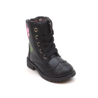 Blue Children's Flower Lace-up Military Boots (As Is Item)|https://ak1.ostkcdn.com/images/products/9396837/P16585652.jpg?impolicy=medium