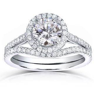 Annello by Kobelli 14k White Gold 1 1/2ct TDW Round-cut Halo Diamond Bridal Rings Set (H-
