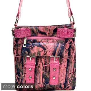 Camo Print Patent Buckled Messenger Bag