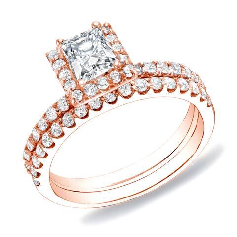 Auriya 14k Rose Gold 1 1/4ctw Princess-cut Diamond Halo Engagement Ring Set