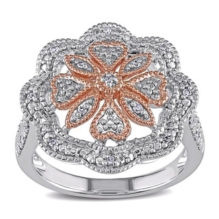 Miadora Two-tone Silver 1/10ct TDW Diamond Cocktail Flower Ring