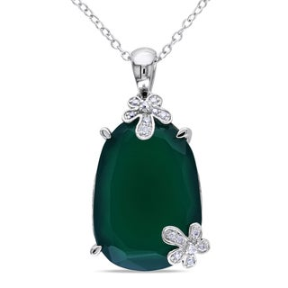 Miadora Sterling Silver Green Chalcedony and 1/10ct TDW Diamond Necklace (G-H, I1-I2)