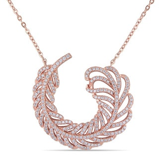 Miadora Rose-plated Silver Cubic Zirconia Leaf Necklace