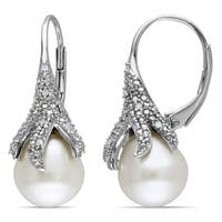 Miadora Sterling Silver White Pearl and 1/10ct TDW Diamond Earrings (H-I, I2-I3) (9.5-10 mm)