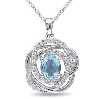 Miadora Sterling Silver Blue Topaz and White Topaz Halo Necklace