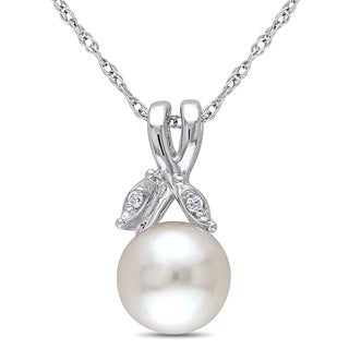 Miadora 10k White Gold White Cultured Freshwater Pearl and Diamond Accent Necklace (7.5-8 mm)