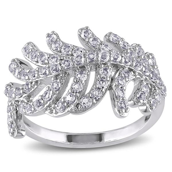 Miadora Sterling Silver White Topaz Leaf Ring
