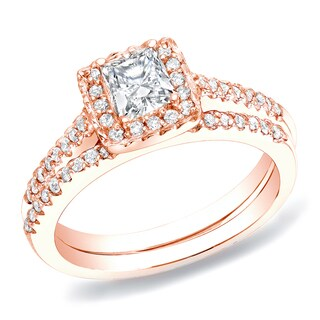 Auriya 14k Rose Gold 3/4ct TDW Princess Diamond Bridal Ring Set