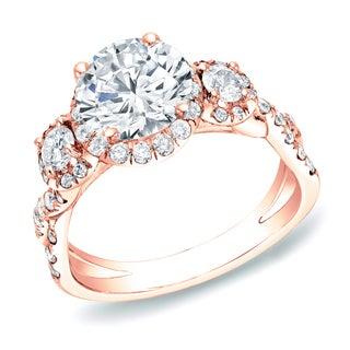 14k Rose Gold 2ct TDW Infinity 3 Stone Diamond Halo Engagement Ring by Auriya