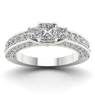 De Couer 14k White Gold 2 3/8ct TDW Diamond Princess-cut Three Stone Ring (H-I, I2)