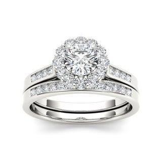 De Couer 14k White Gold 1ct TDW Diamond Scalloped Halo Bridal Set