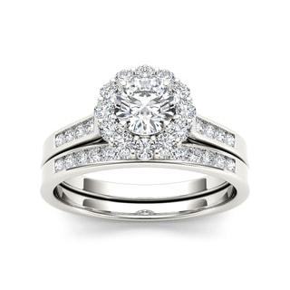 De Couer 14k White Gold 1ct TDW Diamond Scalloped Halo Bridal Set (H-I, I2)