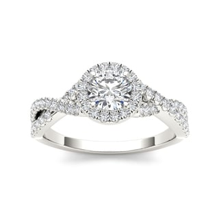 De Couer 14k White Gold 1 1/10ct TDW Diamond Twist Engagement Ring